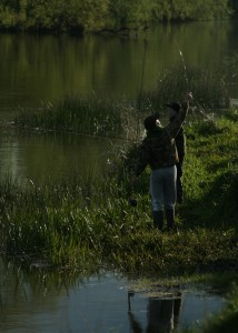 Fly fishing for salmon and trout in the River Boyne