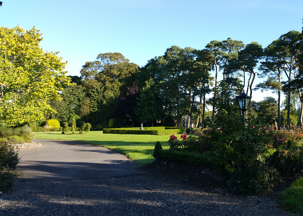 Boyne View gardens at side of house and lane