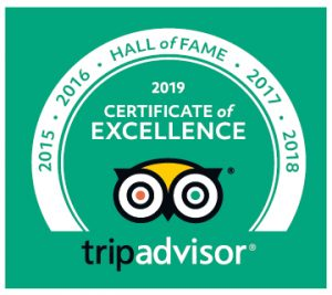 Tripadvisor 2015 to 2019 certificate of excellence award